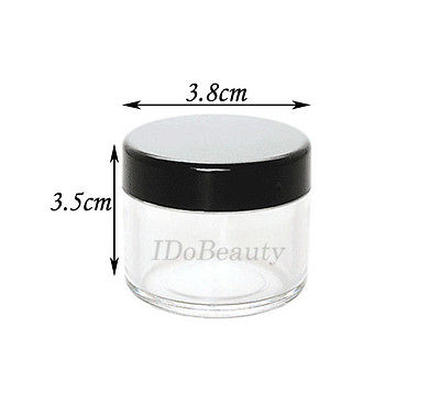 50 X Empty 20g Round Nail Container Jar Pot Clear Plastic
